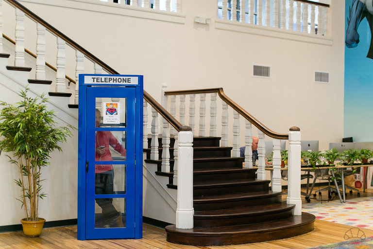 Phone booth near the staircase