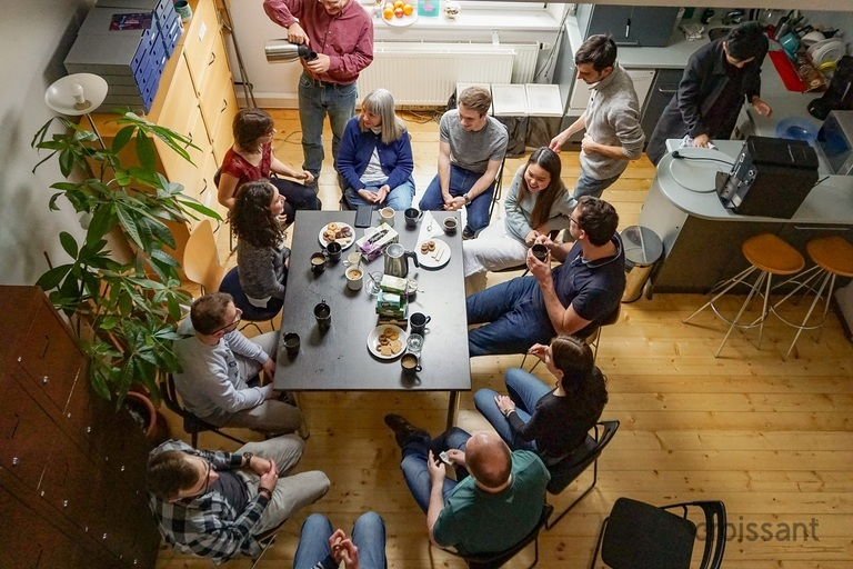 a group of people in a room