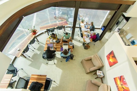 Top view of the coworking area