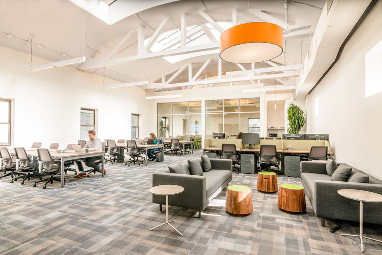 High ceiling and spacious coworking area