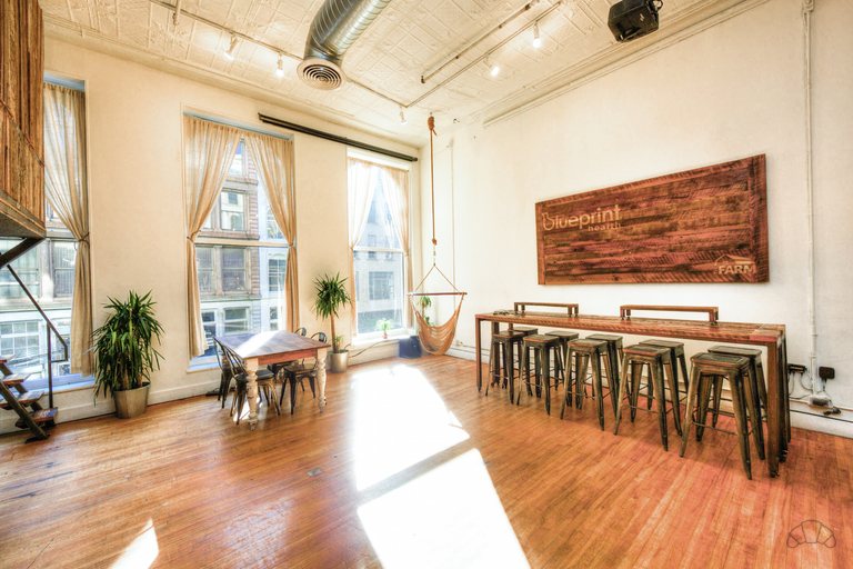 Natural light coworking area